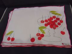 Lot of 4 Vera Neumann   Linen Cherries Placemats 11 X 17 Used