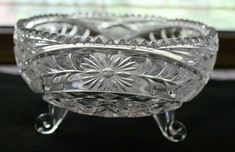 Vintage Pressed Glass Footed Floral Design Saw Tooth Rim Candy Dish Bowl Antique Glass Bottles, Pressed Glass, Candy Dishes, Tooth, Floral Design, Antiques, Vintage, Ebay, Antiquities
