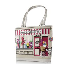 ~ Lulu Guinness Florists Shop Medium Edith Tote ~ I saw this handbag in a department store a few years ago and something about it caught my imagination - maybe it's because the scene on the bag is quite romantic.