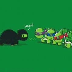 I love how the black ninja has only his eyes visible and the mutant ninja turtles have only their eyes covered