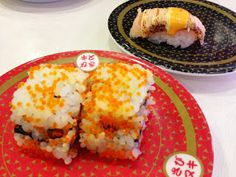 """conveyor belt sushi restaurant """"Hamazushi"""" in Japan. I live right down the street from this restaurant. It's delicious!"""