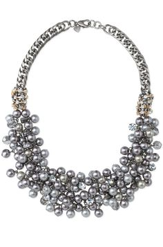 Hematite Chain & Pearl Bib Necklace | Isadora Pearl Bib | Stella & Dot- great with a t-shirt and blazer, or with a cocktail dress!  This will be at my trunk show!