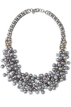 Hematite Chain & Pearl Bib Necklace by Stella & Dot