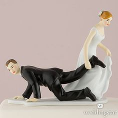 Comical Couple with the Bride Having the Upper Hand Funny Wedding Cake topper Funny Wedding Cake Toppers, Wedding Topper, Custom Cake Toppers, Tacky Wedding, Blue Wedding, Rustic Wedding, Altar, Cake Tower, Wedding Cake Fresh Flowers