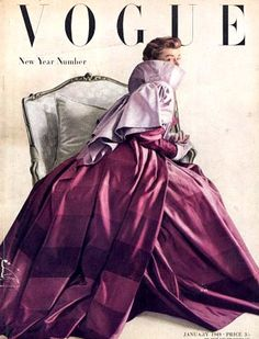 Vintage magazine purple taffeta evening gown in graded shades of purple with matching evening coat (1949)