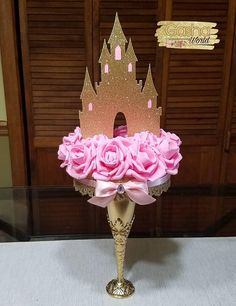 1 pc Princess Castle/ Princess Theme/ Princess Castle Centerpiece/ Pink and Gold/ Pink and Silver/ Castle and Roses Centerpiece/ Princess Princess Centerpieces, Princess Birthday Party Decorations, Disney Princess Birthday Party, Cinderella Birthday, 1st Birthday Girls, Birthday Parties, Pink Princess Party, Baby Shower Princess, 1st Birthday Cake Topper