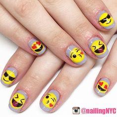 Emoji nails! The cutest nails! #nails #nailart #nailswag #cutenails #funnails #coolnails #polishnails #polishnailart #nailporn #simplenails #simplenailart #easynails #easynailart #diy #diynails #diynailart #emoji #emojinails #emojinailart #emojilove