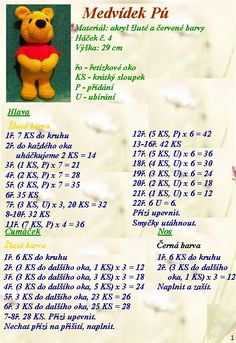 Pooh Crochet Pattern (Winnie the Pooh) Crochet Rabbit, Crochet Bear, Bead Crochet, Crochet For Kids, Crochet Animals, Diy Crochet, Crochet Toys, Easter Crochet Patterns, Crochet Dolls Free Patterns