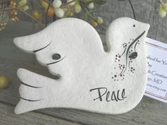 Salt dough dove, pin, ornament, tag, etc.