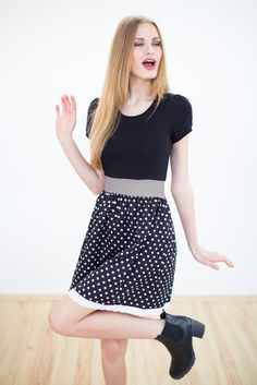 Dress Steddy black A playful dress with a casual bodice made of black cotton jersey and a cute black & white polka dot skirt. The hem is finished off with a fine cotton lace trim. A black and white striped jersey insert at the waist gives the dress a feminine fit. Put it on and get ready to conquer the day. #fashion