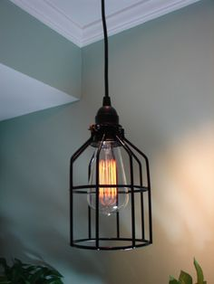 Industrial Style Pendant Light with Bulb Cage and Edison Bulb