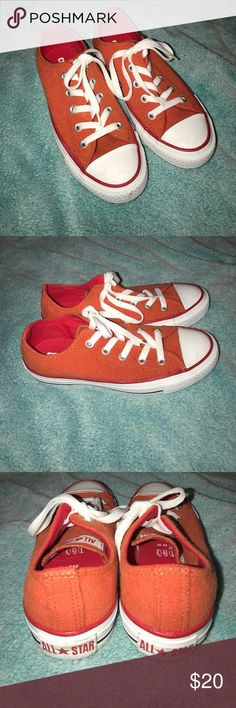 Orange Converse Brand new never worn, a few marks from sitting in my closet. Soft orange material. Size 5 Women's. Converse Shoes Sneakers
