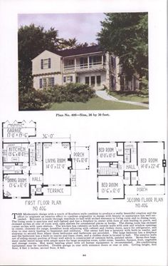 Ideal homes: section two, eleventh edition, two-story houses Two Story Homes, Second Story, Story House, Plan Design, Building Plans, Second Floor, Ideal Home, The Borrowers, Terrace