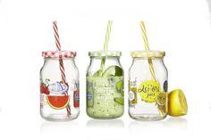 Set borcane cu pai si capac pentru limonada Fruits Yellow, Flirt, 450 ml, 6 piese Flirting, Mason Jars, Tropical, Mugs, Fruit, Tableware, Medium, Home Decor, Products