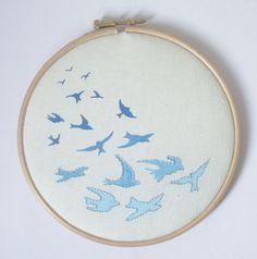 Hoop wall art Swallows in flight handembroidered and by Erinnies, £16.00