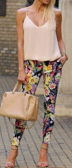 @roressclothes clothing ideas #women fashion Floral skinnies strappy heels.
