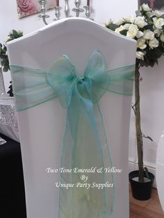Two Tone Emerald Green & Yellow Organza Sashes - Great for Weddings & Parties