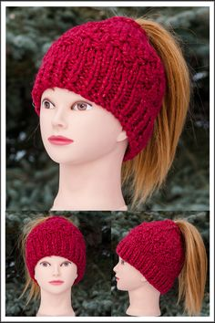 Messy Bun Hat is designed for ladies who like to wear their hair in a bun or a pony tail. * popular design * one size fits all * soft, warm and fashionable * acrylic - metallic blend * Hand Knitted Knitted Hats, Crochet Hats, Messy Bun, Bun Hairstyles, One Size Fits All, Scarfs, Ponytail, Hand Knitting, Winter Hats