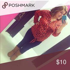 Pink cheetah print shirt 1X pink cheetah print blouse, super cute on, sleeves are adjustable Tops Button Down Shirts