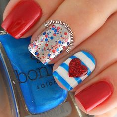 Glitter, blue, red, heart, stripes nails. Nail art. Nail design. Polish. Polishes. by @lifeisbetterpolished