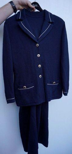 St. John Basics Navy Blue Knit 3 Piece Suit Set Blazer Pants Sweater Small 6 & 8 #StJohnBasics #SuitSet