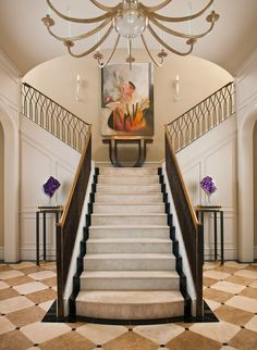 Dallas Residence Entry With French Limestone Slab Staircase And Custom Iron Railing Merges Classic Architecture Modern Accentsby Interior Designer