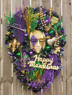 Mardi Gras Teardrop Door Wreath