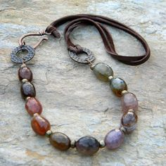 Beaded jewelry leather cord copper mixed by SongbirdCabinDesigns Love the clasp. Wire Jewelry, Boho Jewelry, Gemstone Jewelry, Jewelry Gifts, Beaded Jewelry, Jewelery, Jewelry Accessories, Jewelry Necklaces, Jewelry Design