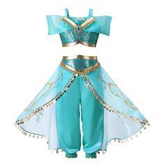 Kids Aladdin Costume Princess Jasmine Cosplay Outfit Girls Halloween Fancy D XWQ Fancy Dress Up, Girls Dress Up, Fancy Dress Outfits, Halloween Fancy Dress, The Dress, Costume Halloween, Couple Halloween, Party Outfits, Halloween Party