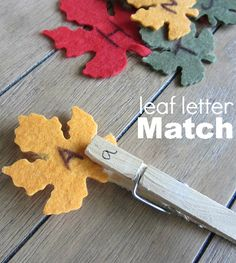 Same basic activity, but made novel by using different materials (leaf shapes in fall colors).