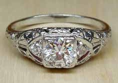 Vintage Antique .60ct Transitional Cut Diamond 14k White Gold Filigree Engagement Ring 1920 Art Deco