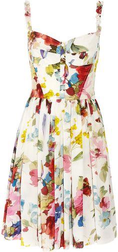 Dolce & Gabbana White Floral Print Silk Crepe De Chine Dress