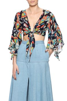 Long drape sleevecrop top featuring a plunge neckline and a wrap tie closure.   Tropical Paradise Crop Top by Raga. Clothing - Tops - Long Sleeve Clothing - Tops - Crop Tops Las Vegas