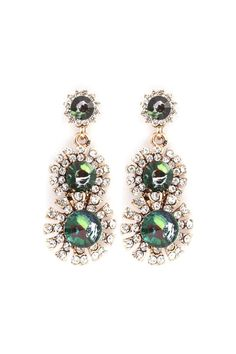 Valencia Earrings in Emerald Crystal