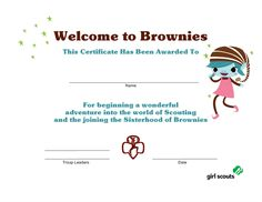 Girl Scout Printables: Welcome to Brownies Certificate