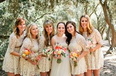 pops of yellow for bridesmaids' bouquets and a touch of coral in the bride's
