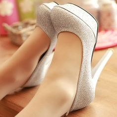 Stiletto High Heels Silver Party Ankle Strap Pumps