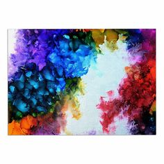 KESS InHouse Claire Day 'Fiona' Rainbow Painting Dog Place Mat, 13' x 18' * Don't get left behind, see this great dog product : Dog food container