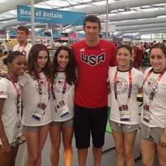 2013 U.S Olympic women's gymnastics team with Michael Phelps. Jordayn Wieber and Gabby Douglas are my favorites