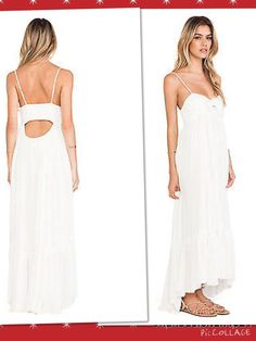 Free People Size M Totally Tubular Maxi Dress in Black or Ivory Comb New