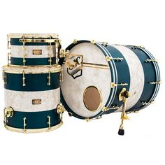 Check out this awesome kit we made for James Rodriguez! 8x12, 15x15, 20x20 Maple shells with a blue/green satin stain with aged white pearl inlays, brass hardware, inlays in 2.3mm hoops