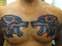 Geri and Freki Oden's wolves tattoo...just need something to tie it into my sleeves now