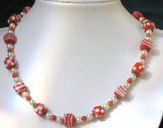 Orange Glass Necklace Set