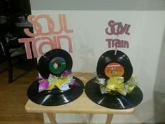 70s themed soul train record (album) centerpieces. Its time to boogie