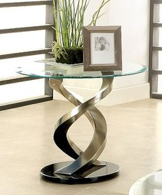Double Helix Greggors Glass-Top End Table #zulily #zulilyfinds