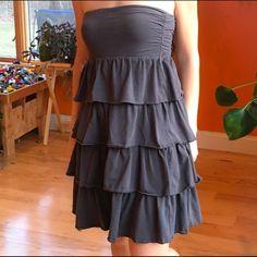 J. Crew strapless ruffle dress, charcoal. Adorable ruffle dress from J Crew. Color is a dark charcoal. Size medium. Excellent condition. J. Crew Dresses Strapless