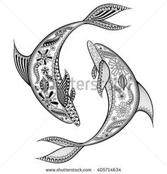 Zentangle stylized Dolphins. Hand Drawn vector illustration isolated on white background. Sketch for tattoo or makhenda. Animal sea collection.