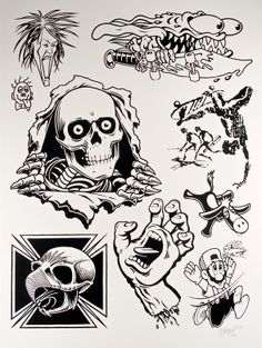 """""""Skate Two"""" Mike Giant (Poster Child Prints) Skateboard Tattoo, Skate Tattoo, Skateboard Art, Tattoo Design Drawings, Tattoo Sketches, Dessin Old School, Mike Giant, Old School Tattoo Designs, 8bit Art"""