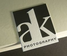 Black Letterpress Photography Business Card