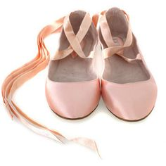 Pink ballet flats with ribbons